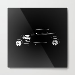 Thirties Custom Hot Rod Silhouette  Metal Print
