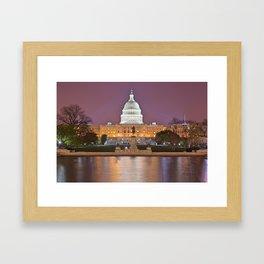 Glowing Washington DC Capitol Framed Art Print