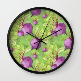 Beets on Green Background Watercolor Wall Clock