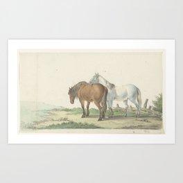 Een bruin en wit paard op een weg naast een hek, Jean Bernard, 1802 Art Print