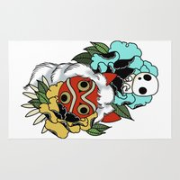 princess mononoke Area & Throw Rugs featuring Princess Mononoke Mask by Crap Panther