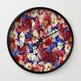 Red White Blue Flora Wall Clock