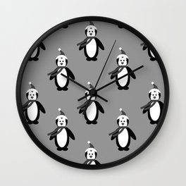 Goth Christmas | Holidays | Black penguins | Gothic Holidays Wall Clock