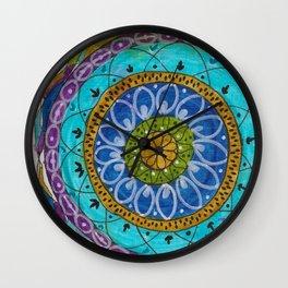 Splotch Art Mandala Turquoise Wall Clock
