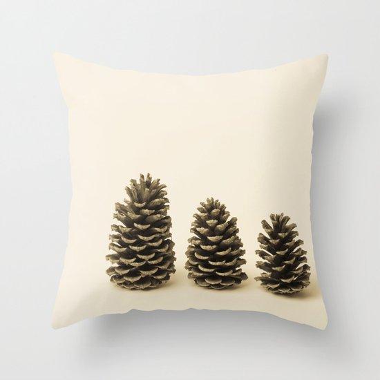 Three Little Pinecones  Throw Pillow
