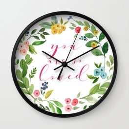You Are So Loved floral wreath pink Wall Clock