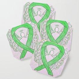 Lime Green Awareness Ribbon Angel Art Coaster