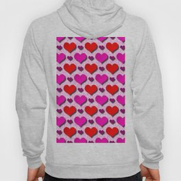 Love Hearts Pattern With Pink Fuzzy Background Hoody