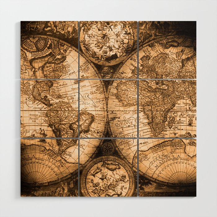 World Map Antique Vintage Maps Wood Wall Art by naturemagick | Society6