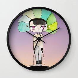 Pink eyed teen girl Wall Clock