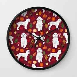 Poodle fall autumn leaves acorns pinecones cute standard white poodles Wall Clock