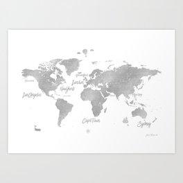 World silver map JV ed Art Print