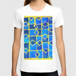 blue abstract pattern T-shirt