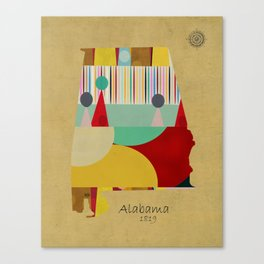 Alabama state map  Canvas Print