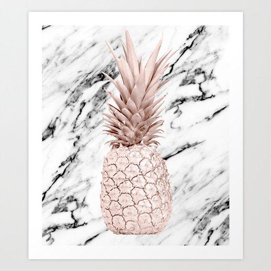 Pineapple Rose Gold Marble Art Print