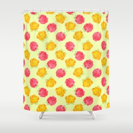 Yellow and Pink Roses Shower Curtain