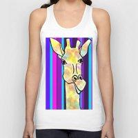 striped Tank Tops featuring Striped Giraffe by Tiffany Saffle
