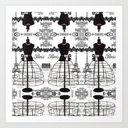 Vintage black white Paris French dress mannequin pattern Art Print
