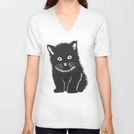 Cat Lover Art Cute Grey Kitten Unisex V-Neck