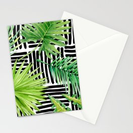 Tropical Leaves Watercolor on Black and White Pattern Stationery Cards