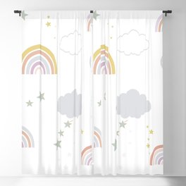 Baby rainbow seamless repeat pattern pastel colored for fabric design  Blackout Curtain