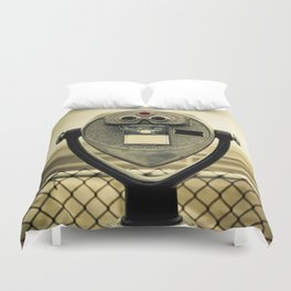 tourist retro coin operated binoculars on the beach in New York City Duvet Cover