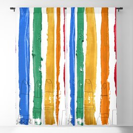 Rainbow Lipstick Stripes Blackout Curtain