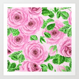 Pink watercolor roses with leaves and buds pattern Art Print