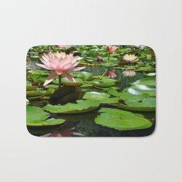 Pink Water Lilies Bath Mat