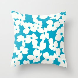 Dogwood: Caribbean Blue Throw Pillow