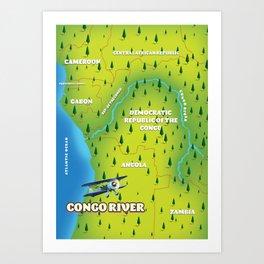 Congo River Beautiful map Art Print