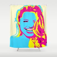 angelina jolie Shower Curtains featuring Angelina by Becky Rosen