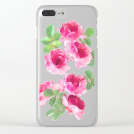 Raspberry Pink Painted Roses on White Clear iPhone Case