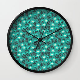 Floral pattern. Blue Flowers. Wall Clock