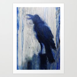 Contemporary Blue Raven Weather Abstract Painting  Art Print