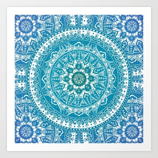 Aquamarine Mandala Pattern Art Print