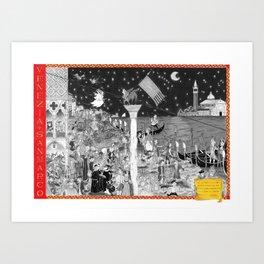 VENEZIA- Piazza San Marco - the Carnival - black and white Art Print