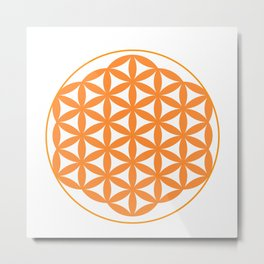 Orange Flower of life Metal Print