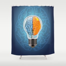 Left and Right Brain, how an idea originated, whether from the left or right brain Shower Curtain