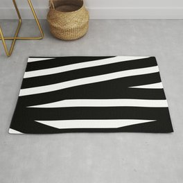 Abstract black & white Lines Stripes Pattern - Mix and Match with Simplicity of Life Rug