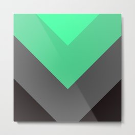 Mint Green Gray Chevron Stripes Metal Print