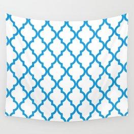 Moroccan Quatrefoil Pattern: Deep Sky Blue Wall Tapestry