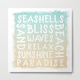 Watercolor Typography with a beach house flair Metal Print