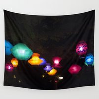 lanterns Wall Tapestries featuring Tea Lanterns by NL Designs