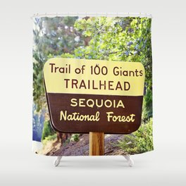 Trail of 100 Giants Vintage National Forest Sign Shower Curtain