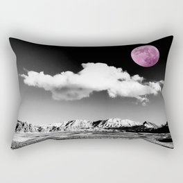Black Desert Sky & Fuchsia Moon // Red Rock Canyon Las Vegas Mojave Lune Celestial Mountain Range Rectangular Pillow
