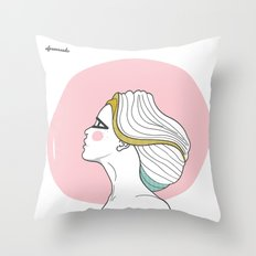 Profile Girl Throw Pillow