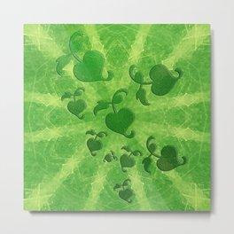 Vine leaves on green kaleidoscope Metal Print
