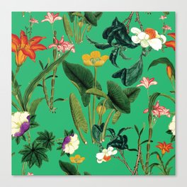 Vintage wild flowers green Canvas Print