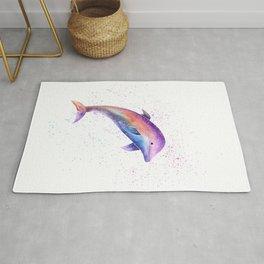 Dolphin Sea Life Watercolor Art Rug
